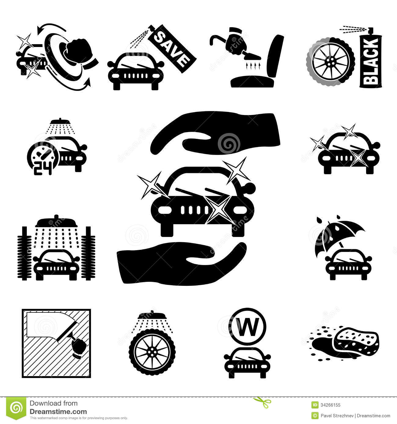 Car Wash Icons Set Royalty Free Stock Photo