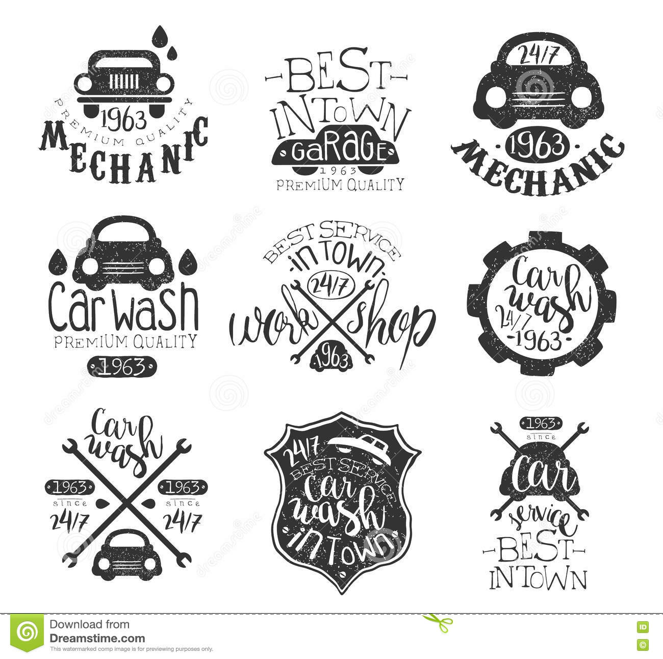 Car Wash Vintage Stamp Collection Stock Vector