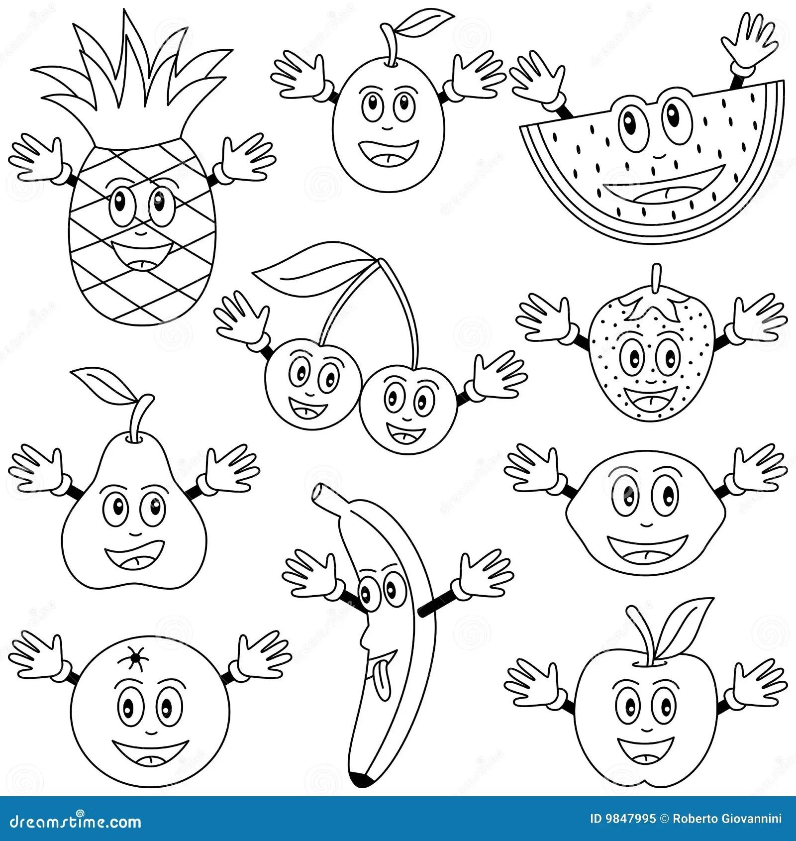 Caracteres De Fruit De Coloration Illustration De Vecteur