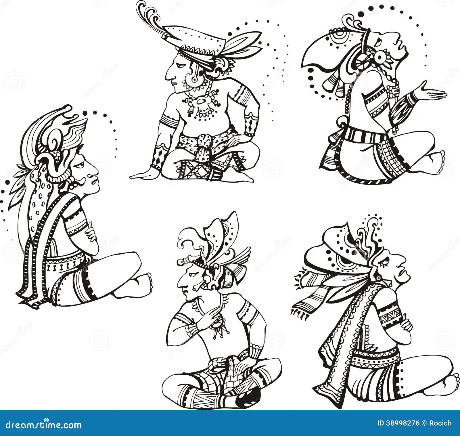 Caracteres Mayas Ilustracion Del Vector Ilustracion De