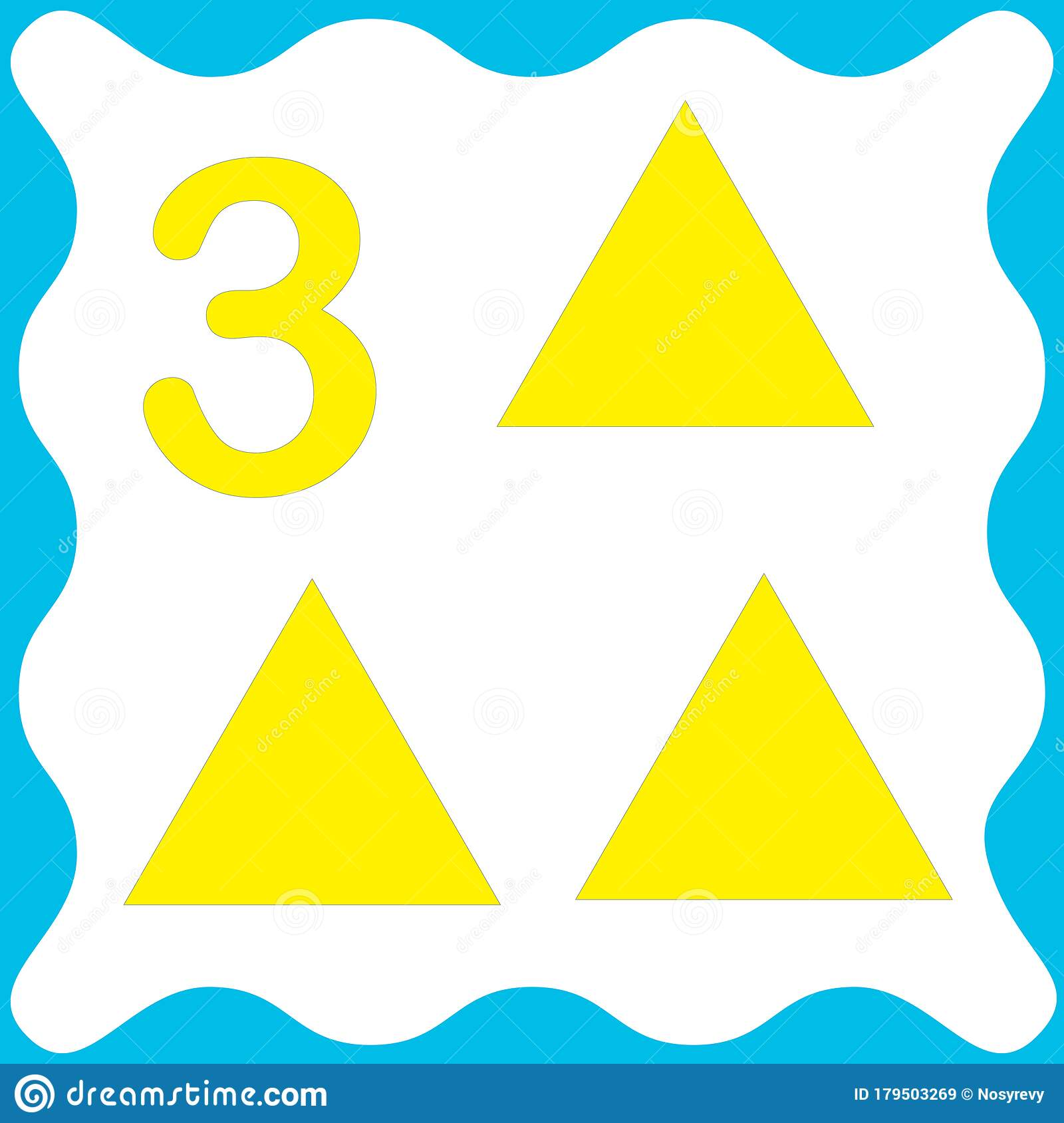 Card Number 3 Three And Triangle Learning Numbers And