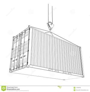 Cargo Container Wireframe Style Stock Illustration  Illustration of export, draw: 113282492