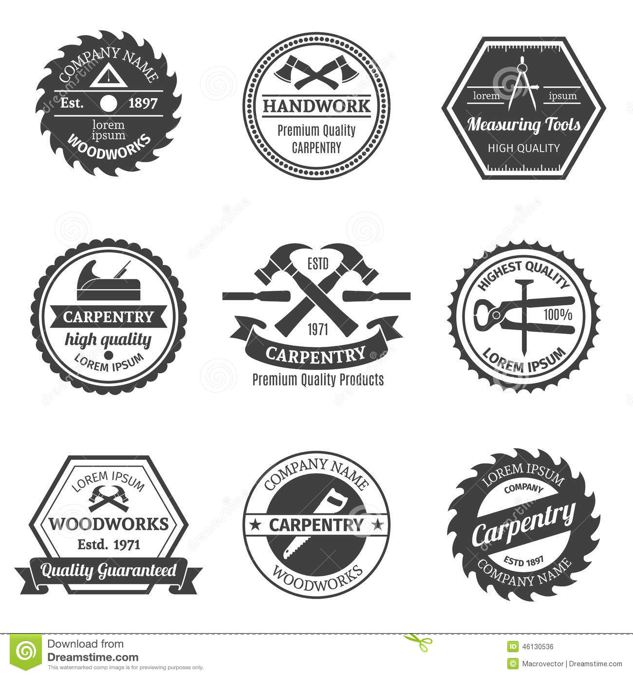 Carpentry Emblems Set Stock Vector