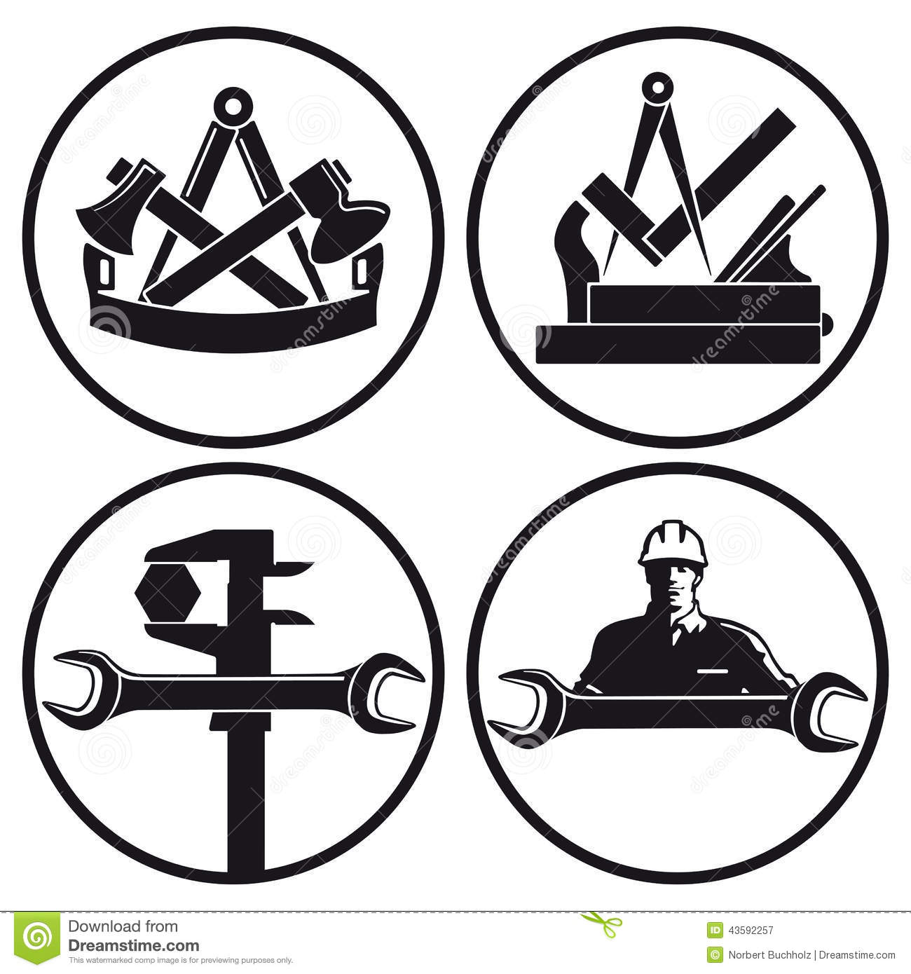 Carpentry And Tool Symbols Stock Vector Illustration Of Symbols
