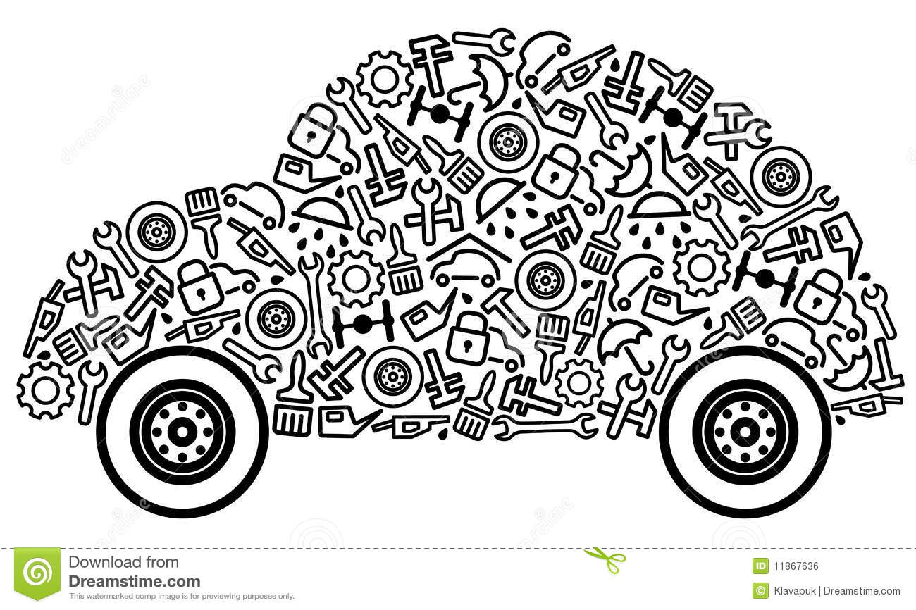 Cars And Spare Parts Stock Vector Illustration Of
