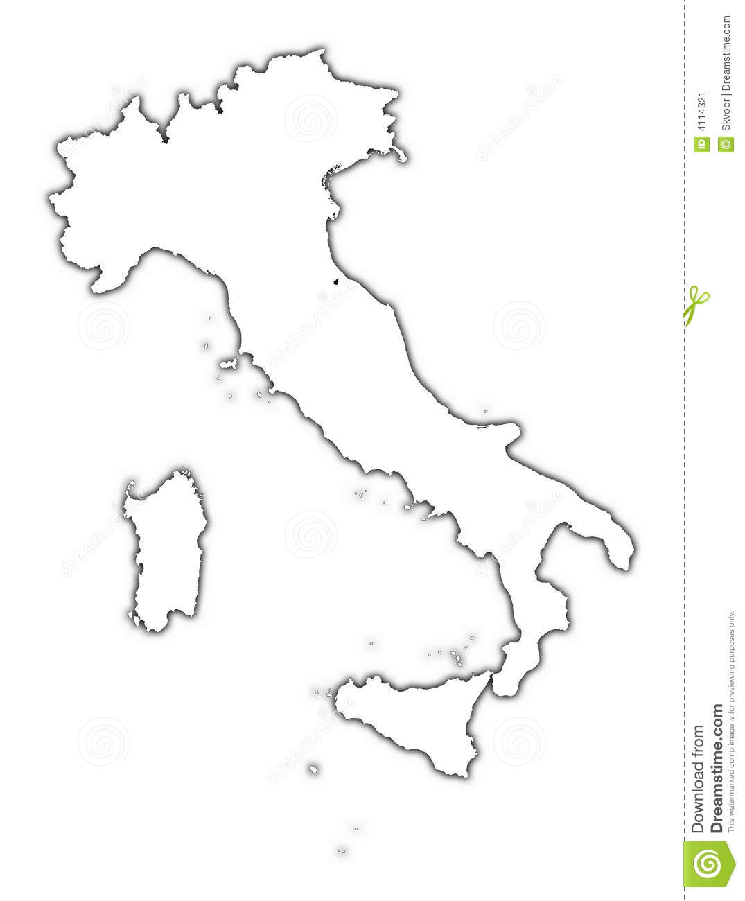 Carte D Ensemble De L Italie Avec L Ombre Illustration