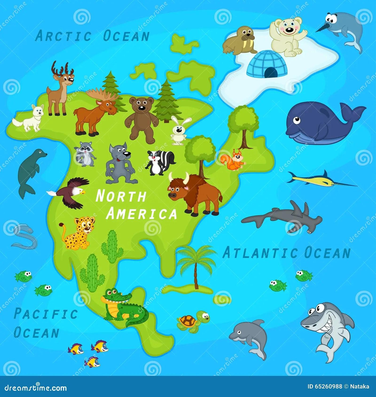 Carte De L Amerique Du Nord Avec Des Animaux Illustration