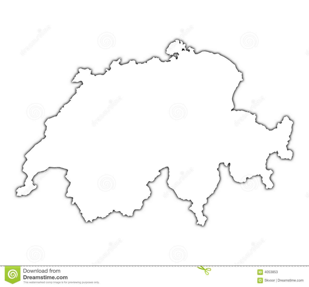 Carte De La Suisse Avec L Ombre Illustration Stock