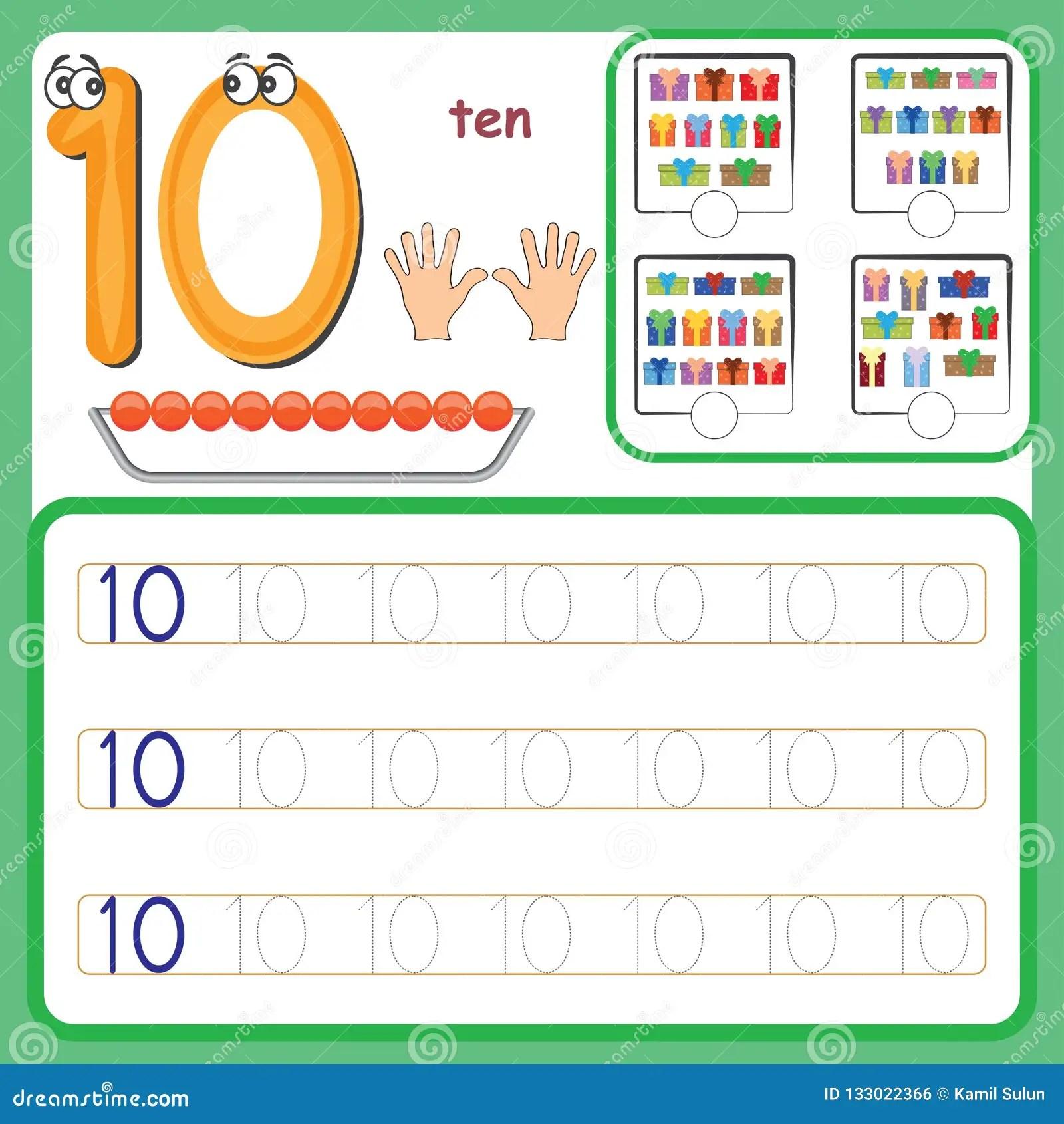 Carte Di Numero Contanti E Scriventi I Numeri Imparanti