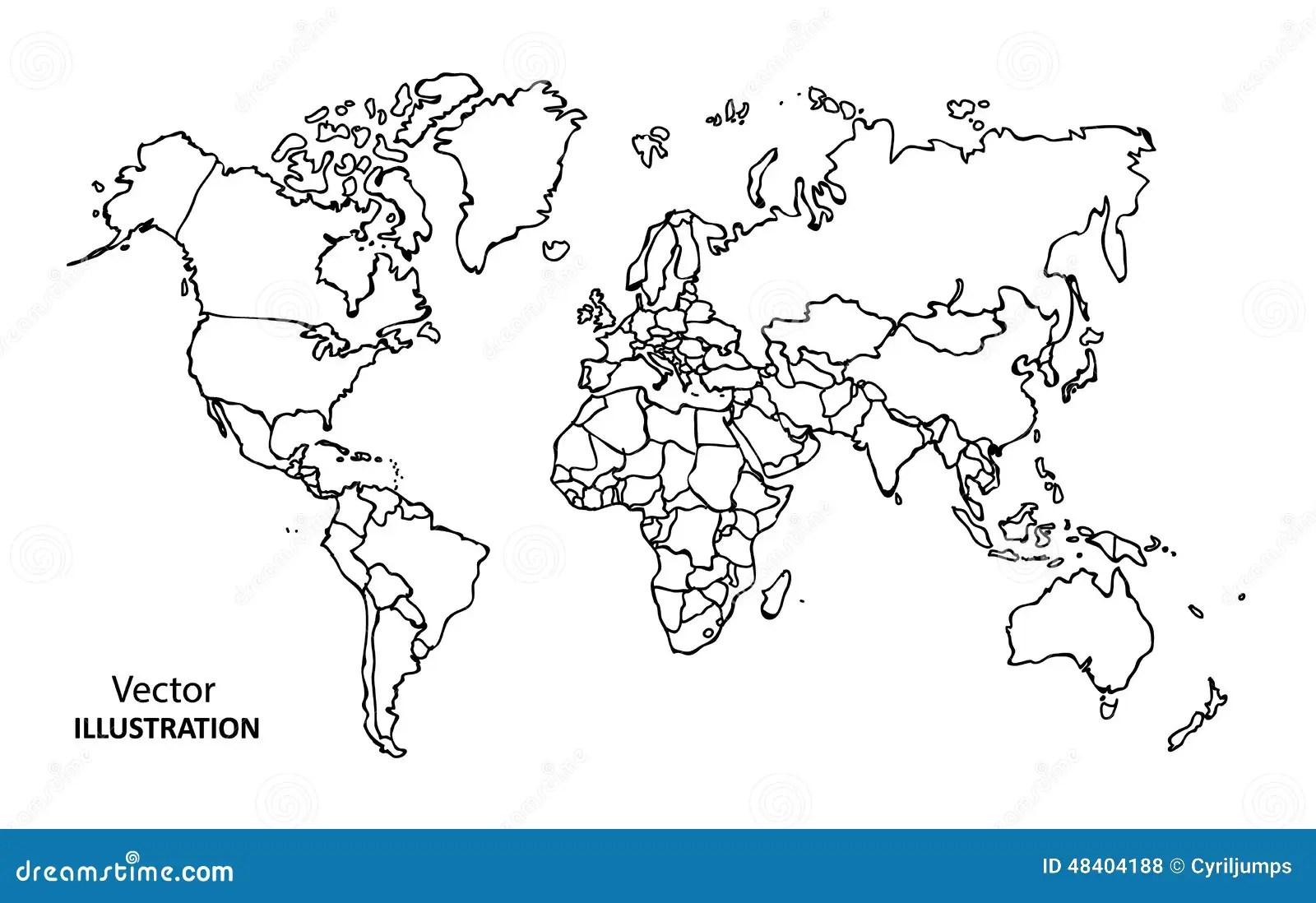 Carte Du Monde De Dessin De Main Avec Des Pays