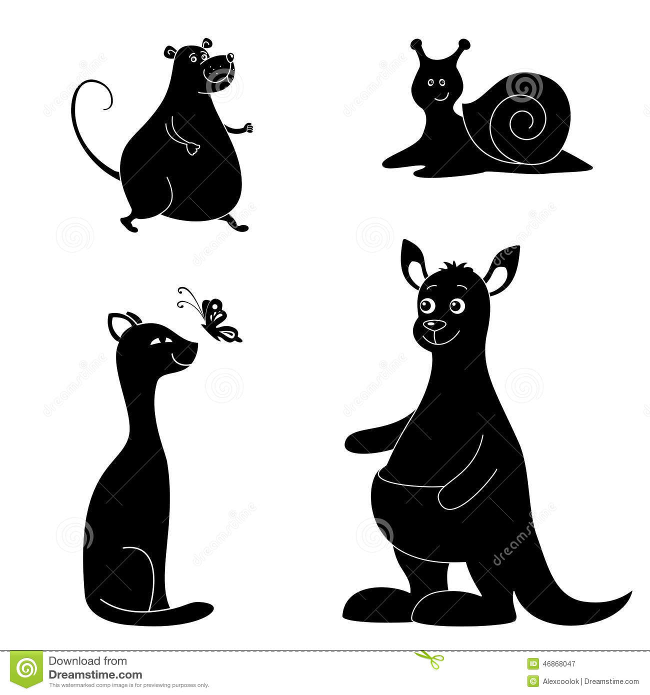 Monochrome Silhouette Of Snail Drawing Outline Cartoon Vector