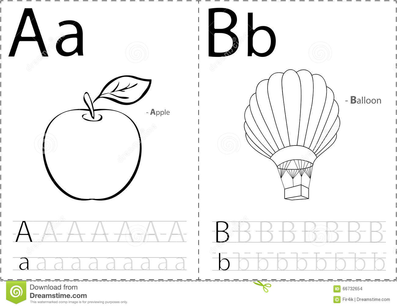 Cartoon Apple And Balloon Alphabet Tracing Worksheet