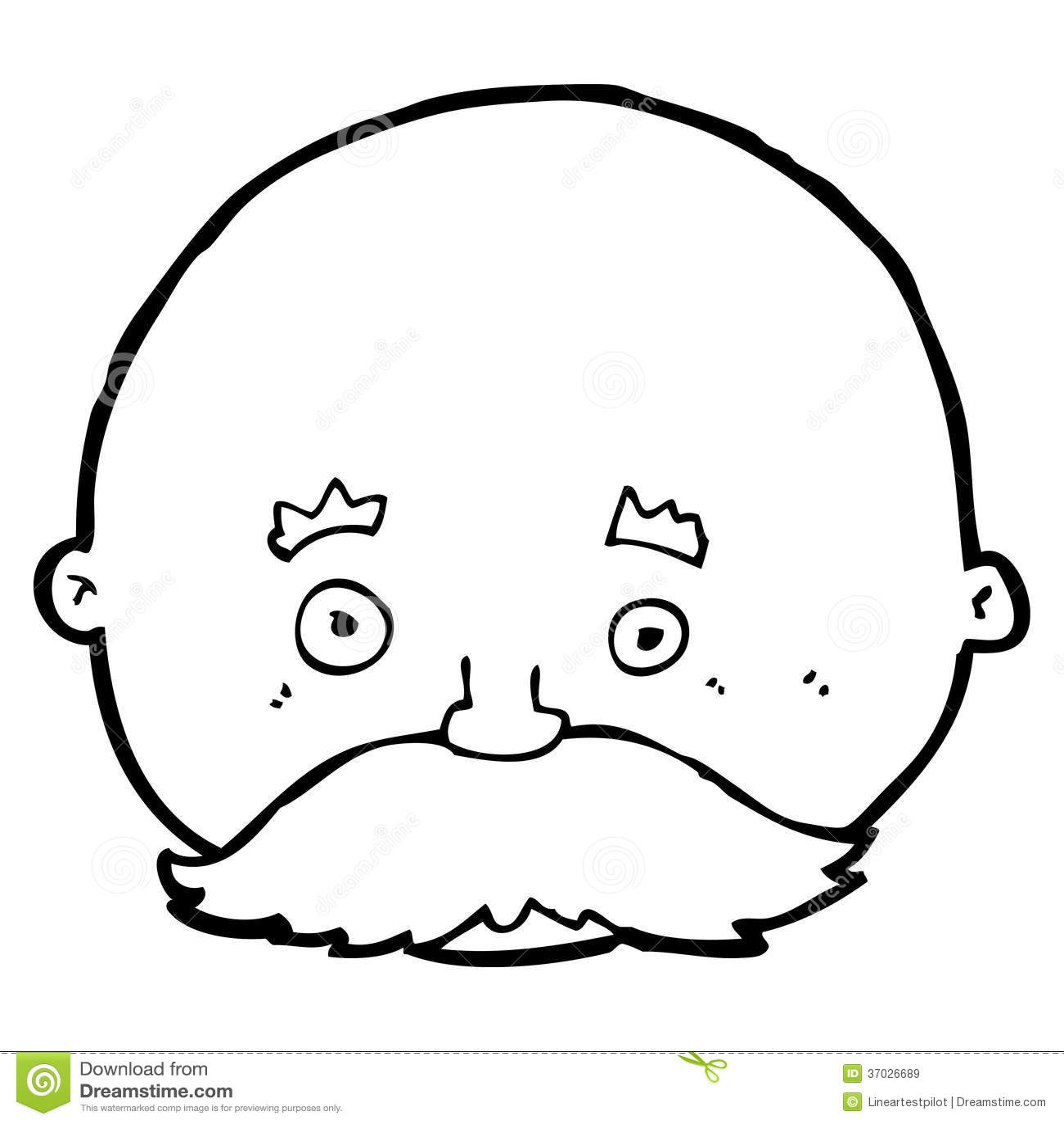 Cartoon Bald Man With Mustache Stock Illustration