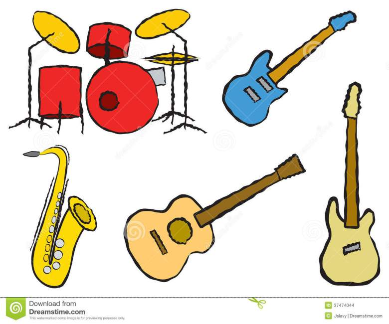 cartoon band instruments stock vector. illustration of group - 37474044