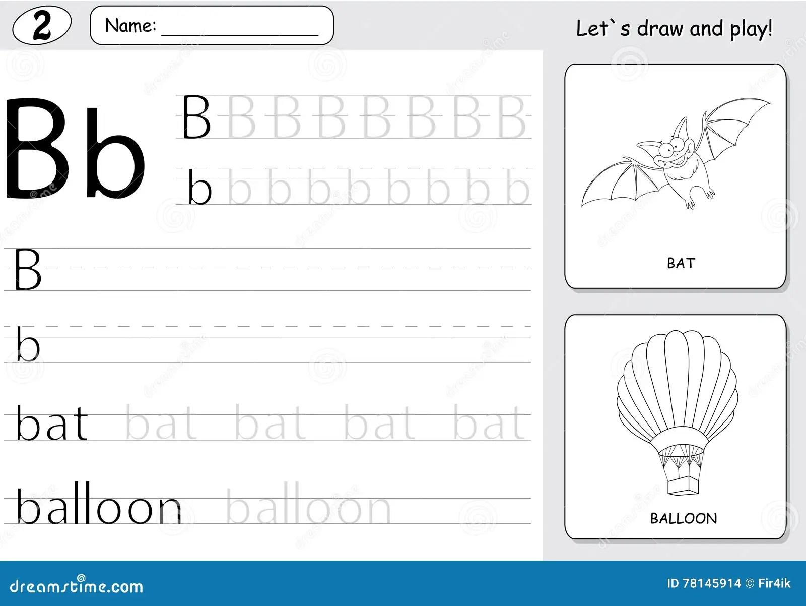 Cartoon Bat And Balloon Alphabet Tracing Worksheet Writing A Z Vector Illustration