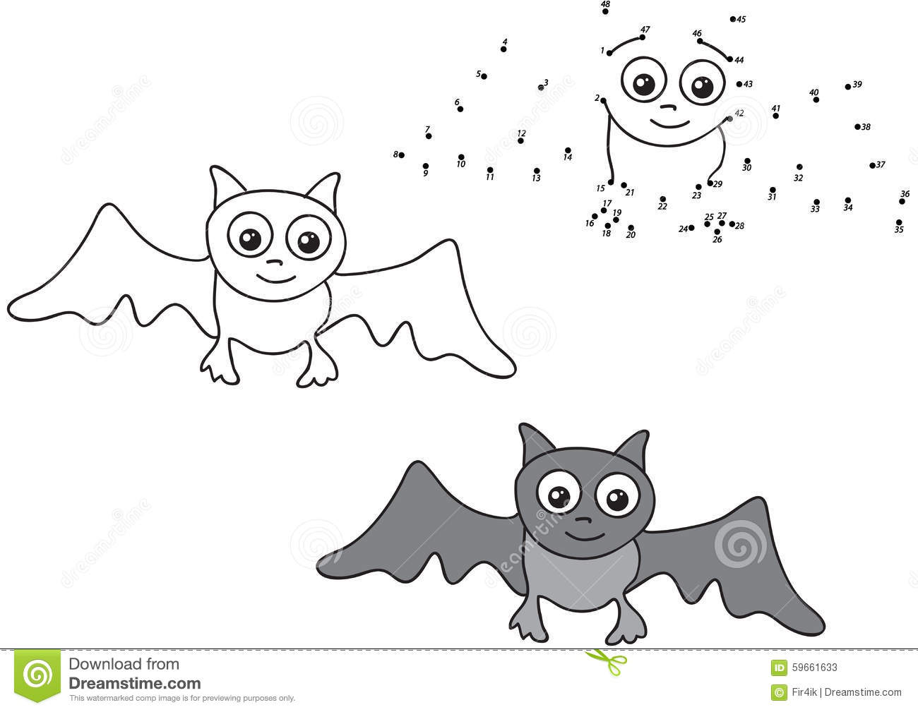 Cartoon Bat Vector Illustration Coloring And Dot To Dot