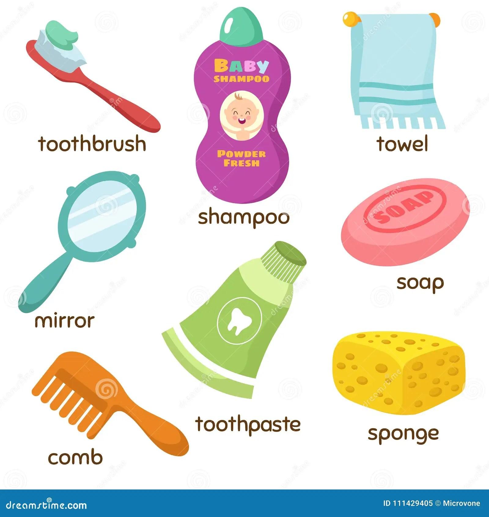 Cartoon Bathroom Accessories Vocabulary Vector Icons