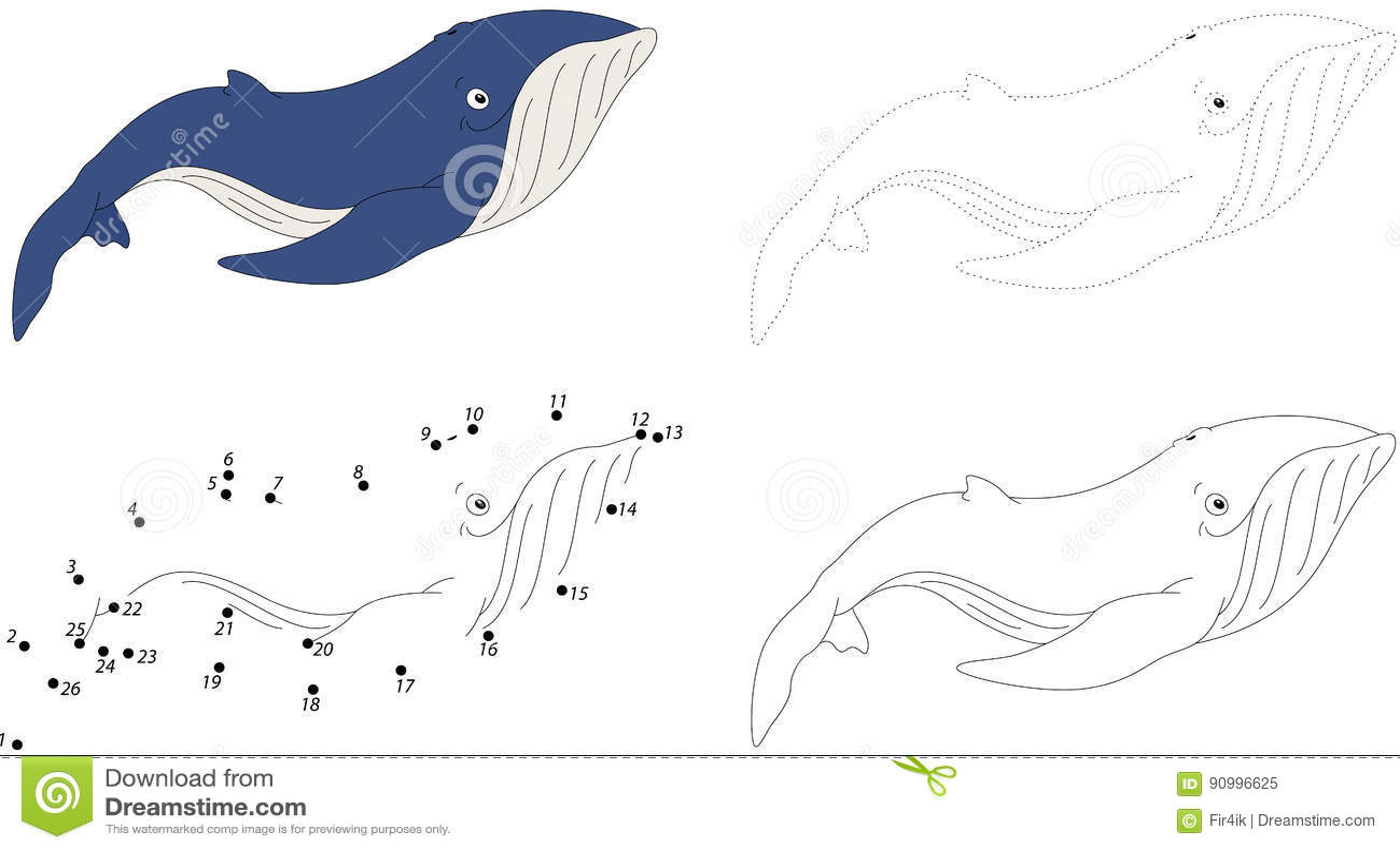 Cartoon Blue Whale Dot To Dot Game For Kids Cartoon
