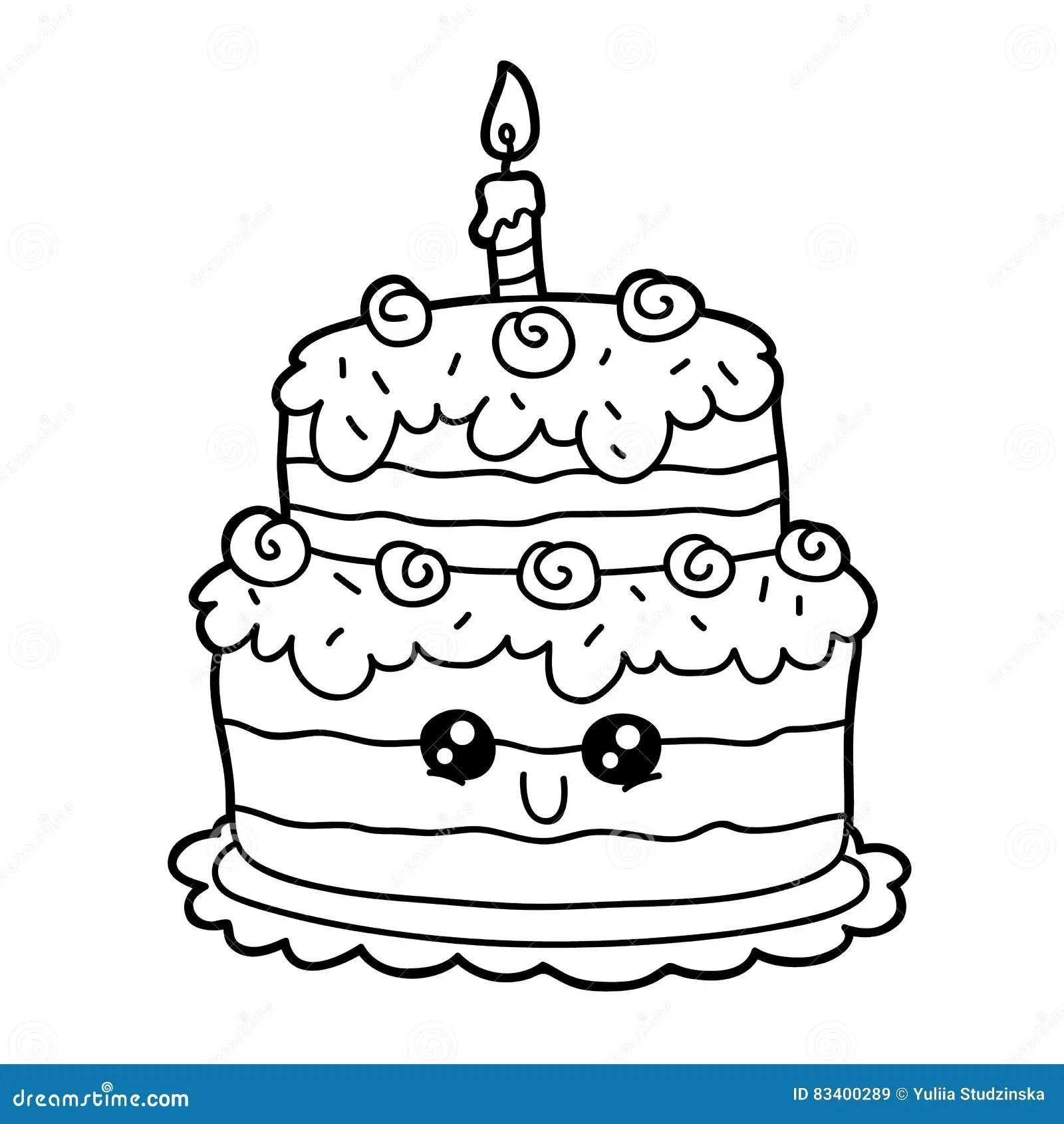 Cartoon Cake Stock Vector Illustration Of Cheerful Hand