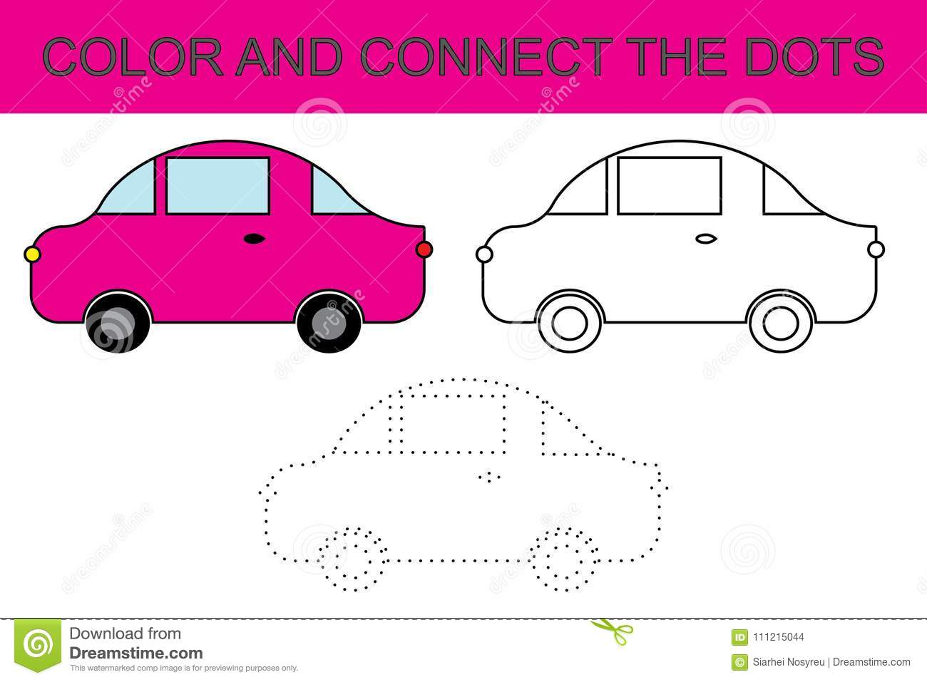 Cartoon Car Coloring Page Connect The Dots Kids Game
