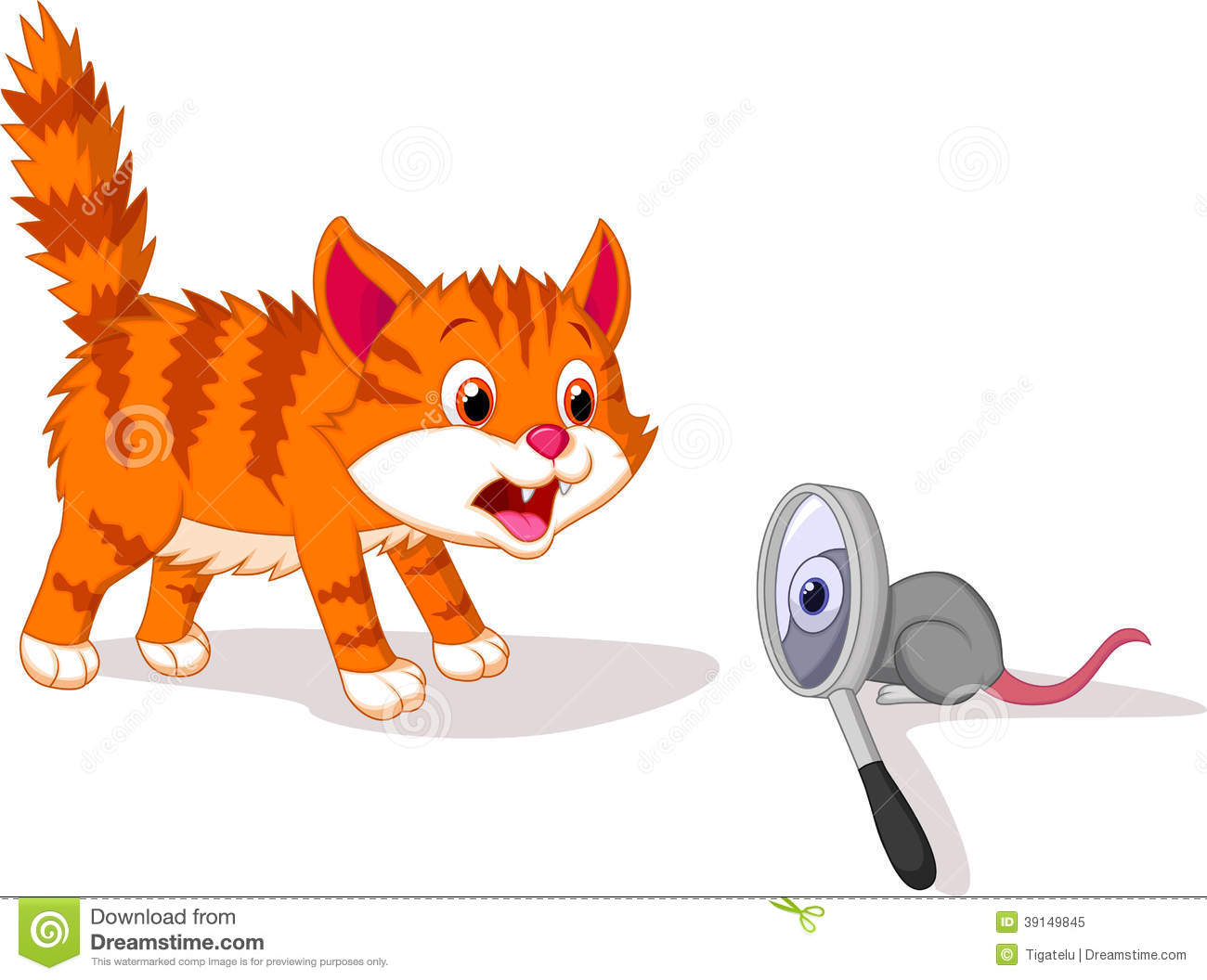 Cartoon Cat Afraid Of Mouse With Magnifying Glass Stock