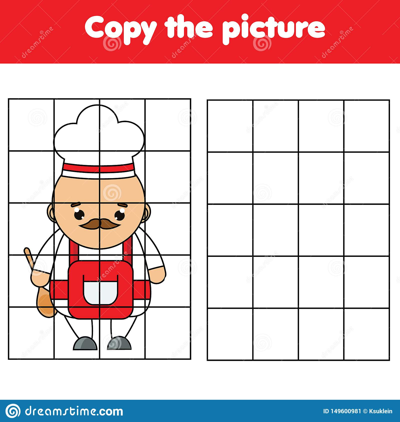 Cartoon Chef Grid Copy Worksheet Educational Children