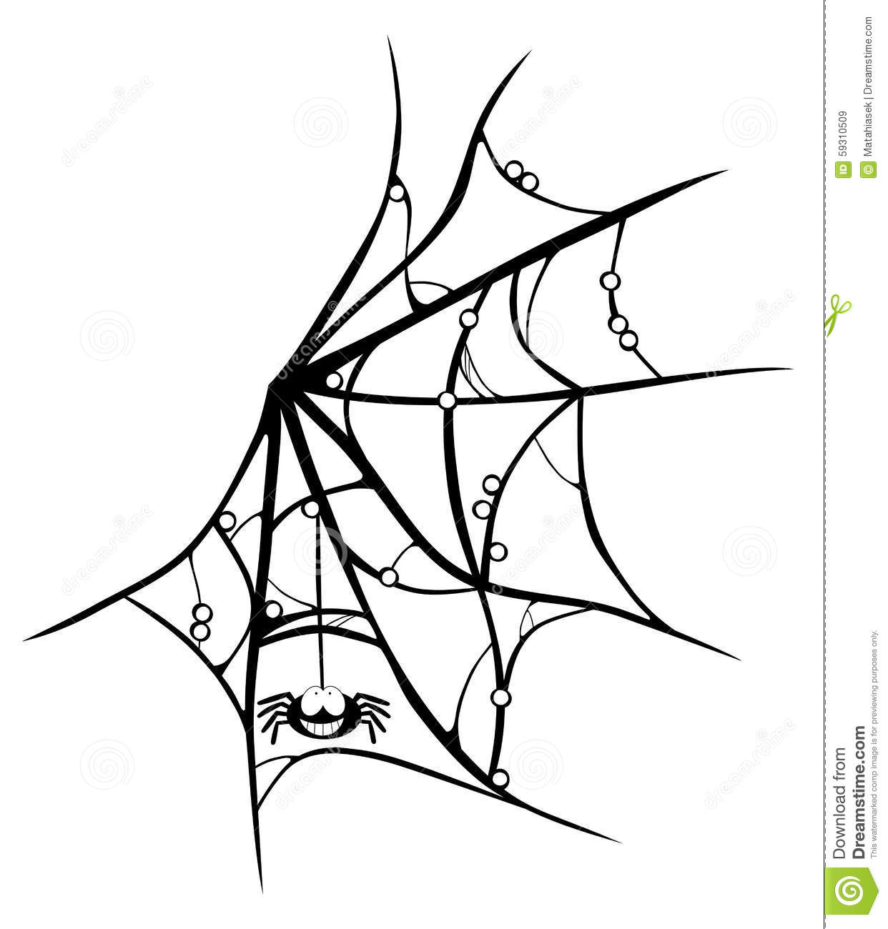 Cartoon Cobweb With Smiling Spider On White Stock Vector