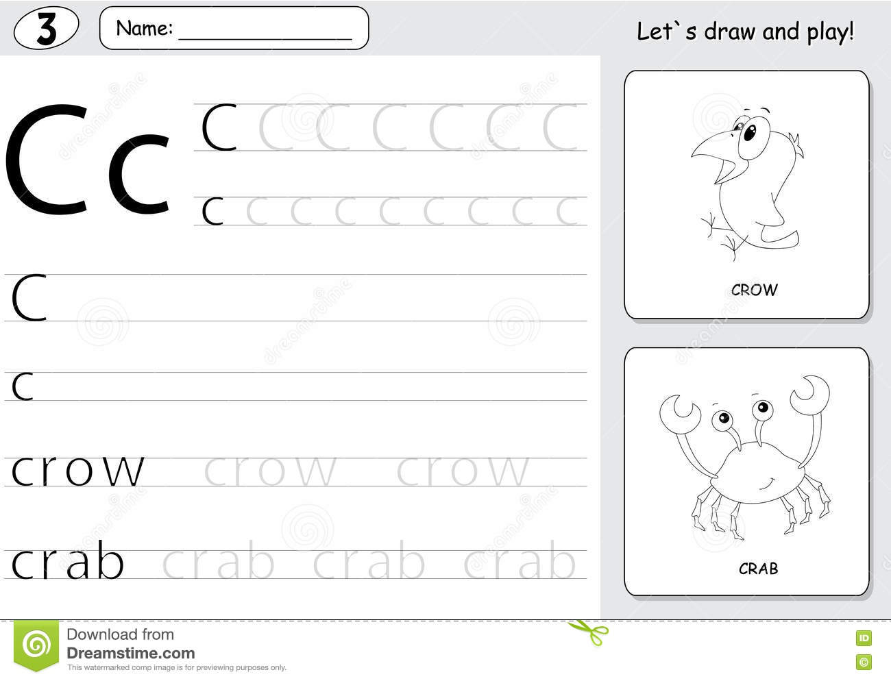 Cartoon Crow And Crab Alphabet Tracing Worksheet Writing A Z A Stock Vector
