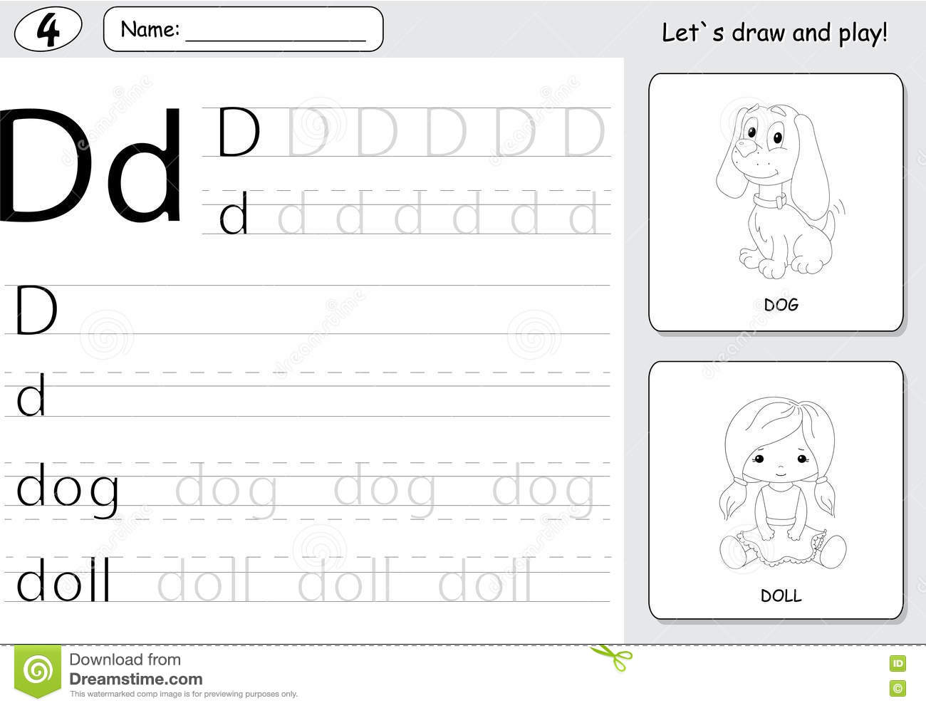 Cartoon Dog And Doll Alphabet Tracing Worksheet Writing
