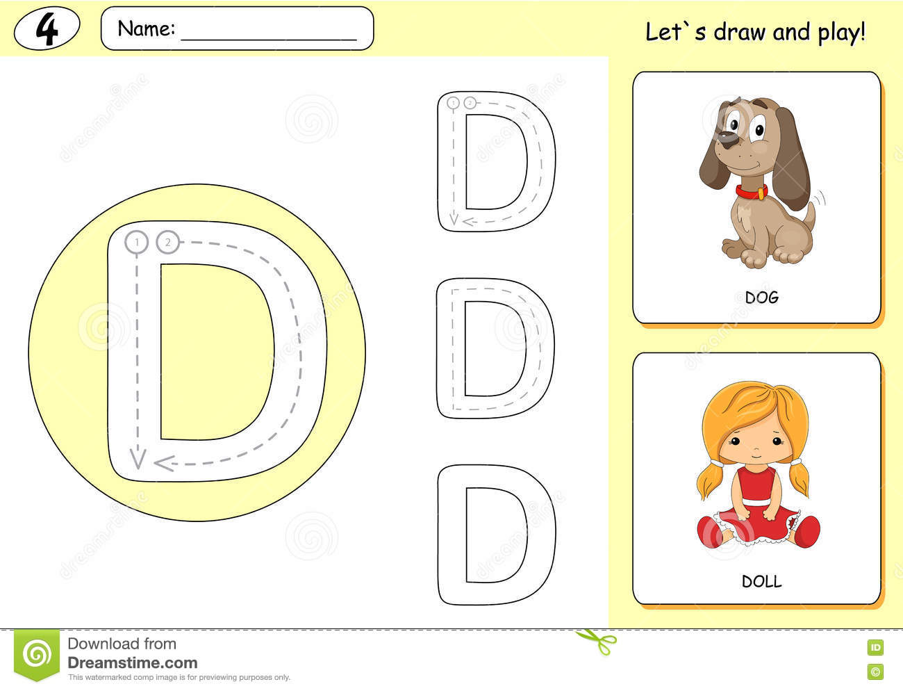 Cartoon Dog And Doll Alphabet Tracing Worksheet Writing A Z Stock Vector