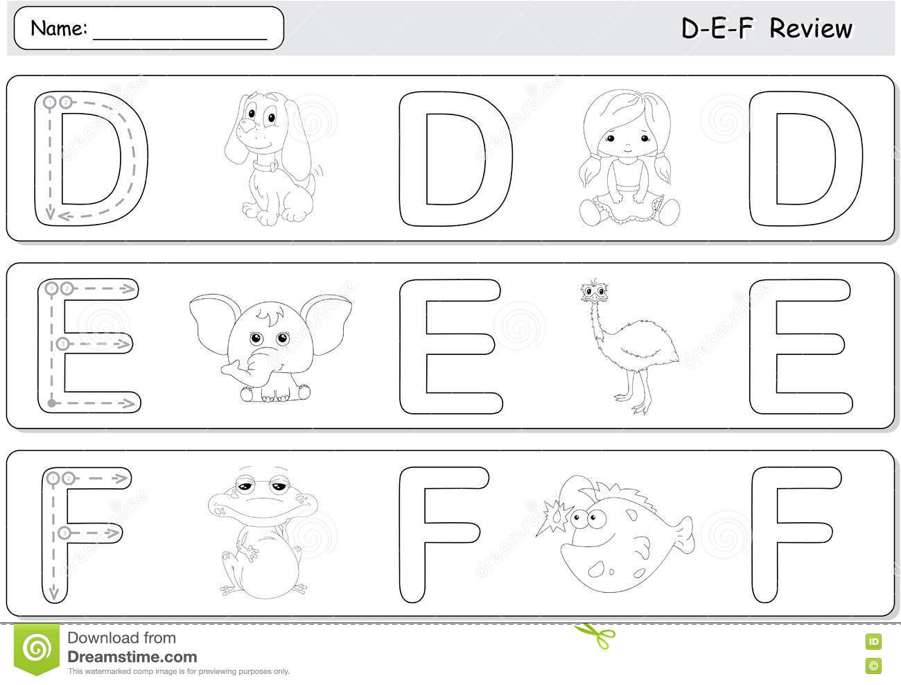 Cartoon Dog Doll Elephant Emu Frog And Fish Alphabet