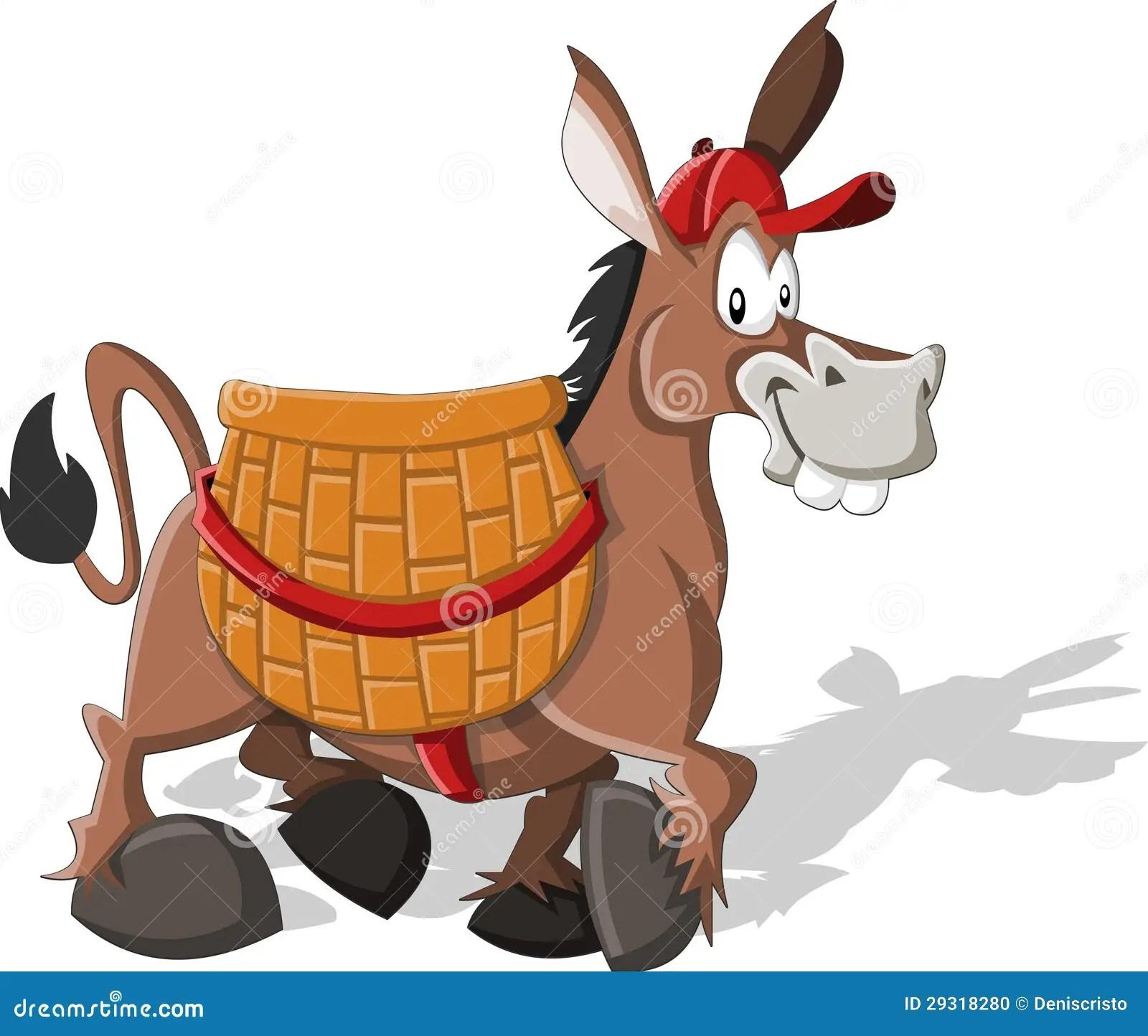 Cartoon Donkey Behind Fence Cartoon Vector