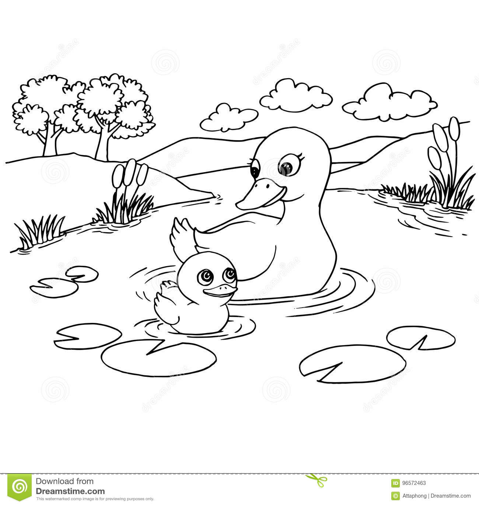 Cartoon Duck Lake Coloring Page Vector Stock Vector