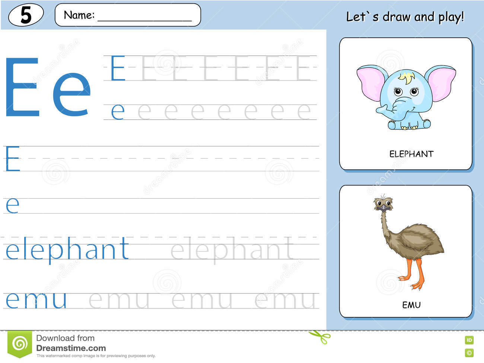 Cartoon Elephant And Emu Alphabet Tracing Worksheet Stock Vector