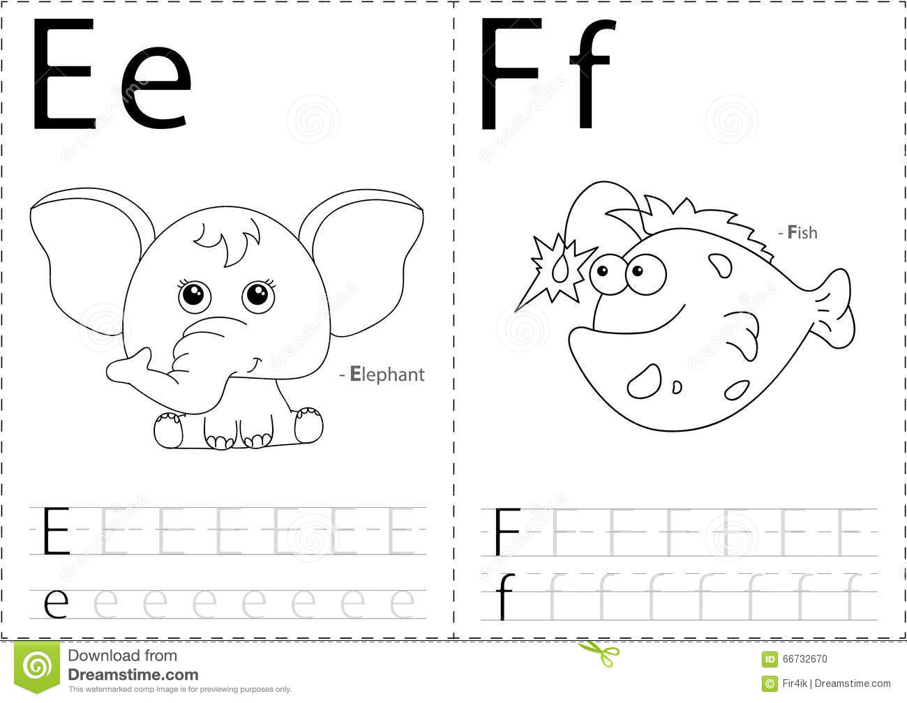Cartoon Elephant And Fish Alphabet Tracing Worksheet Writing A Stock Vector