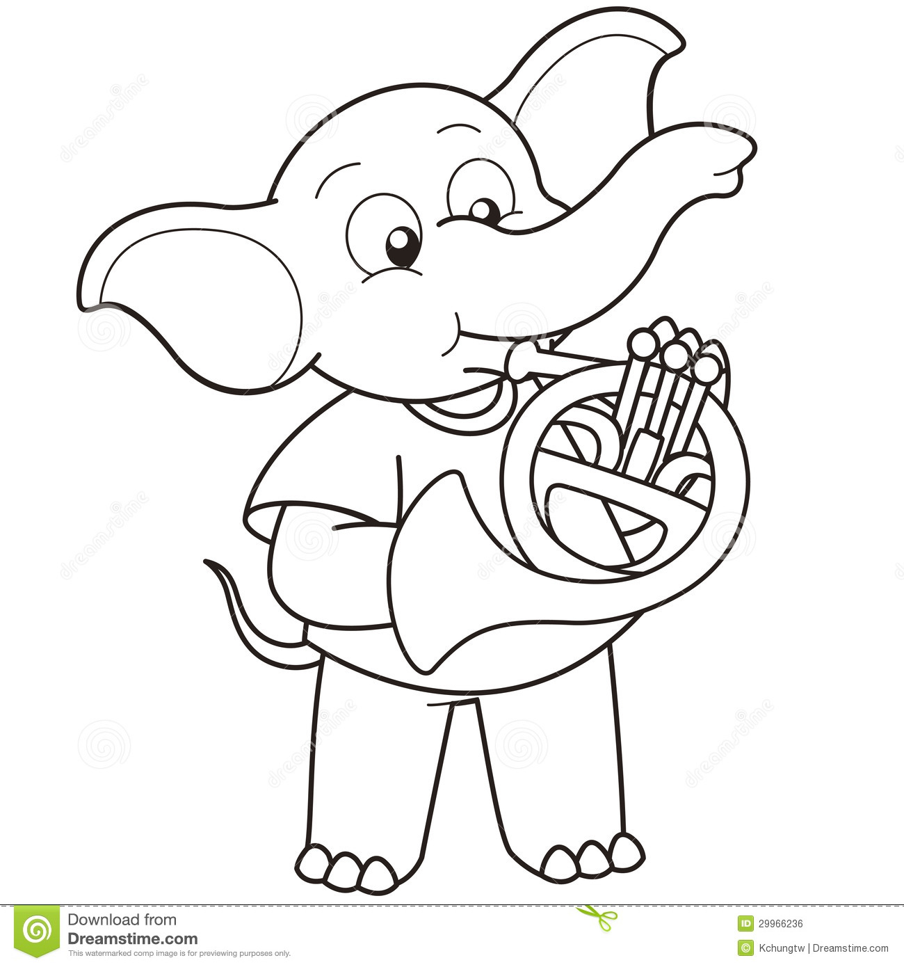 Cartoon Elephant Playing A French Horn Stock Vector