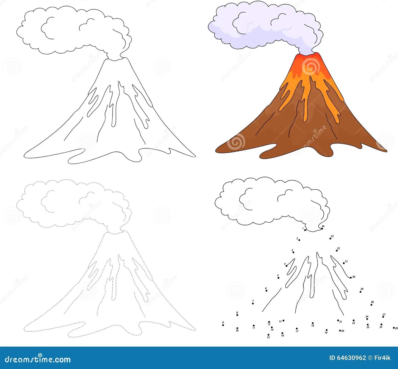 Cartoon Erupting Volcano Vector Illustration Dot To Dot