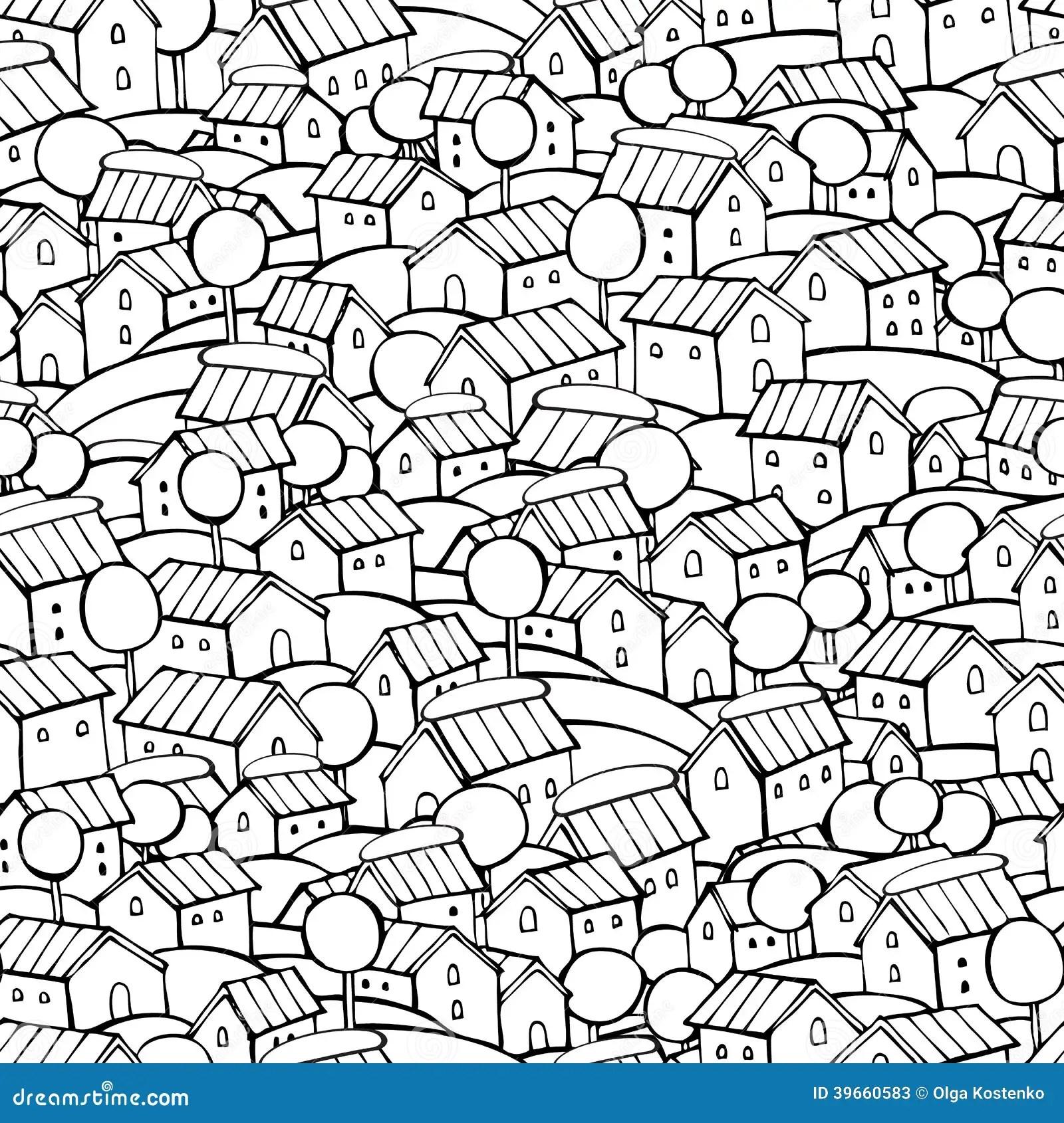 Cartoon Fairy Tale Houses Pattern Stock Vector