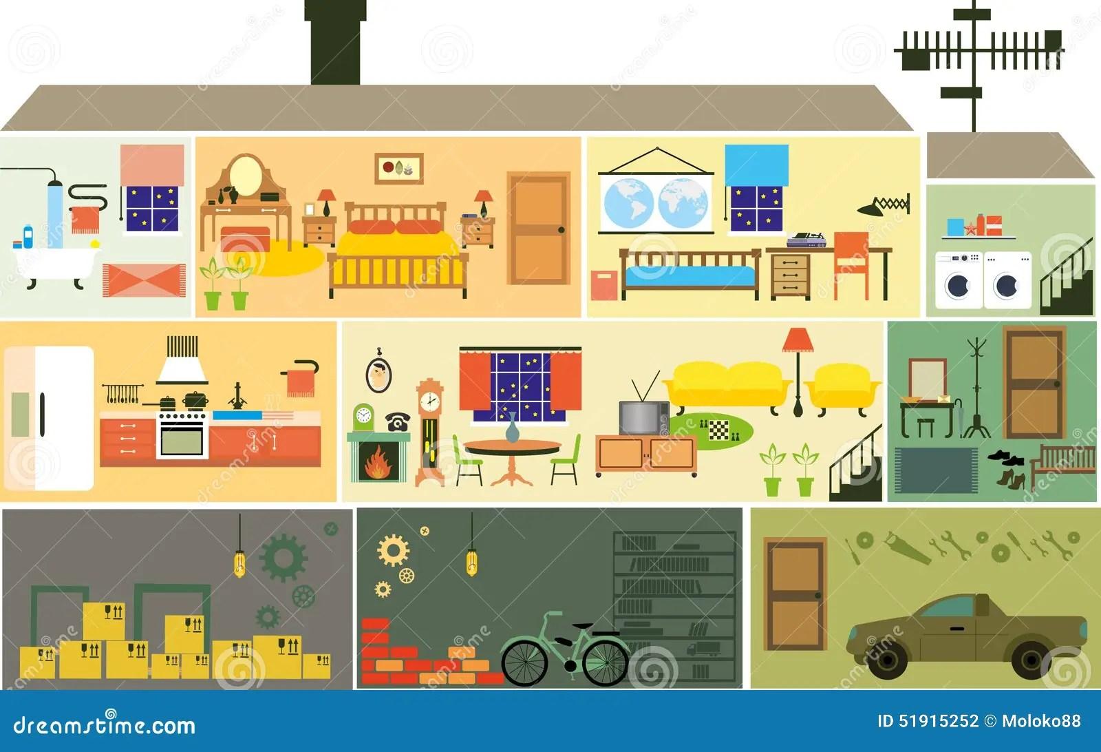 Cartoon Family House Stock Vector Illustration Of