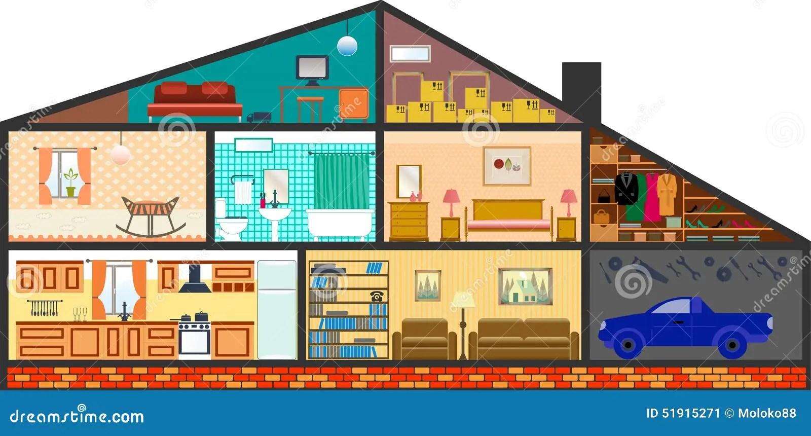 Cartoon Family House Stock Vector Illustration Of Bookshelf 51915271