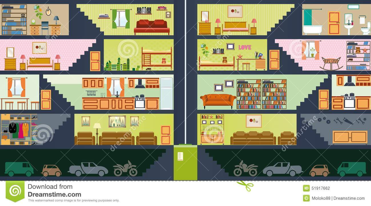 Cartoon Family House Stock Vector Image 51917662