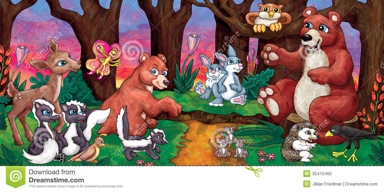 Cartoon Forest Animals Royalty Free Stock Photo Image