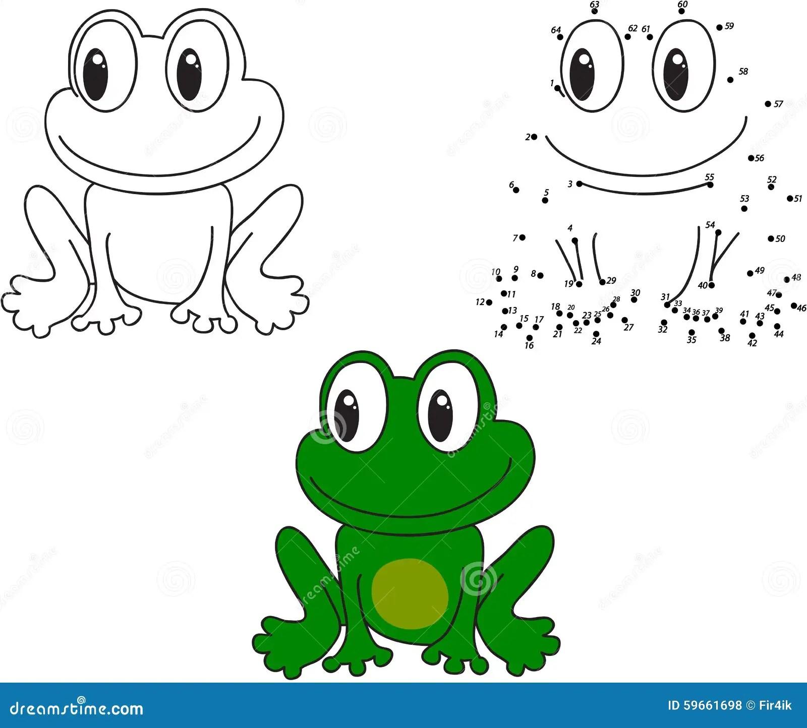 Cartoon Frog Vector Illustration Coloring And Dot To Dot