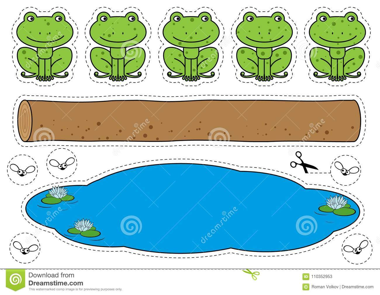Five Little Speckled Frogs Game Stock Vector