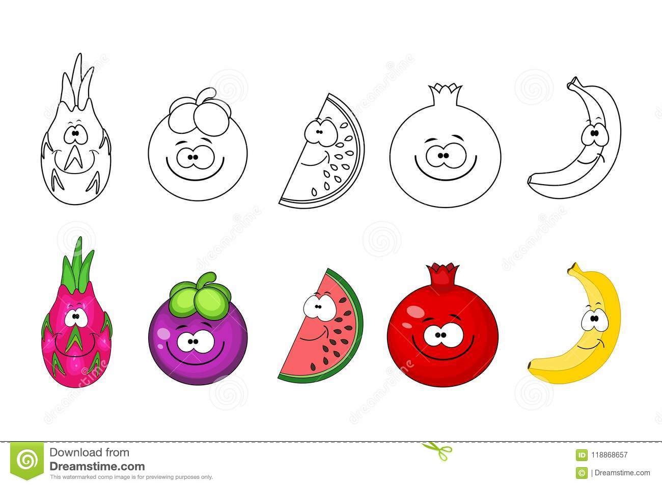 Cartoon Fruits Set Coloring Book Pages For Kids Dragon