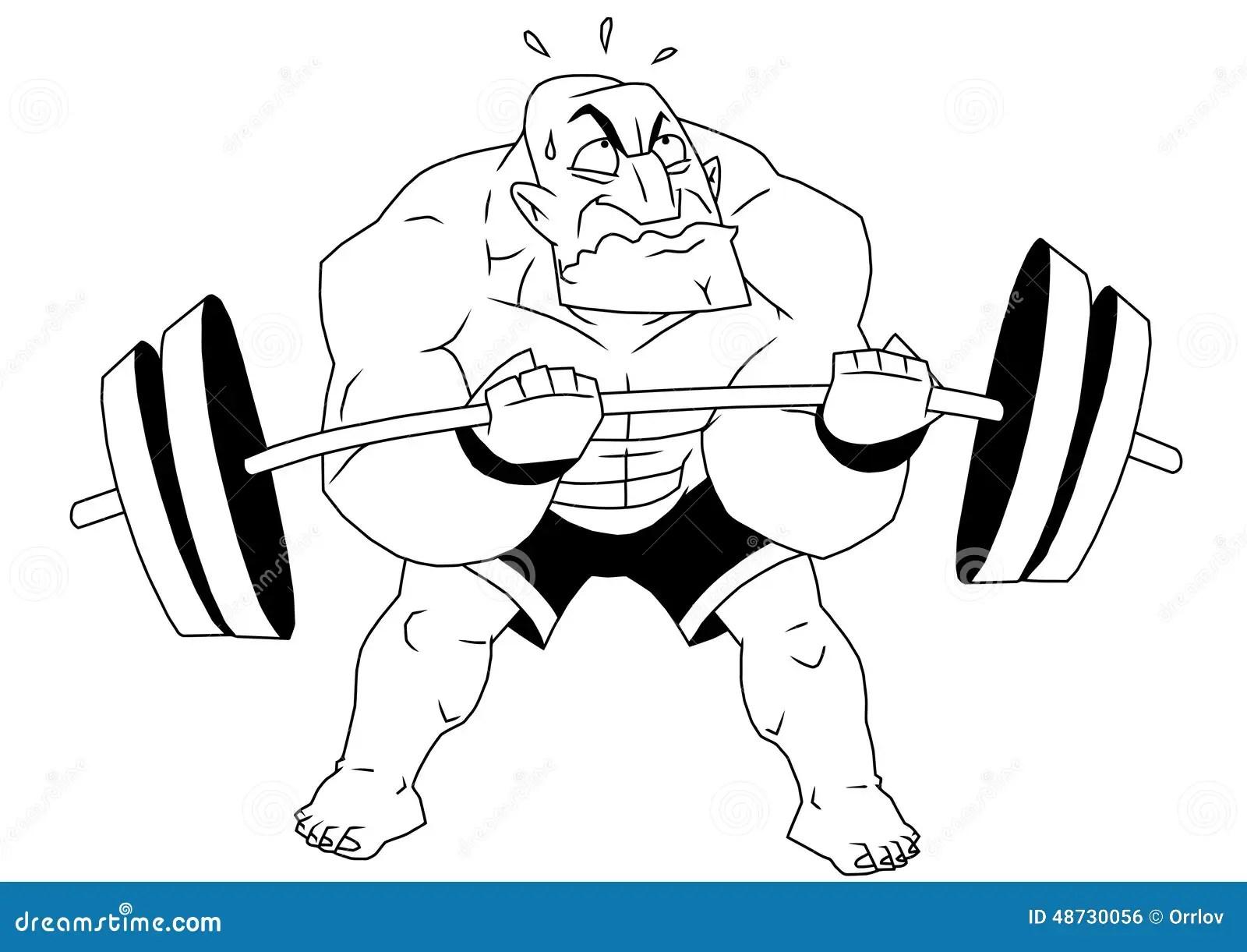 Cartoon Funny Bodybuilder Vector Illustration