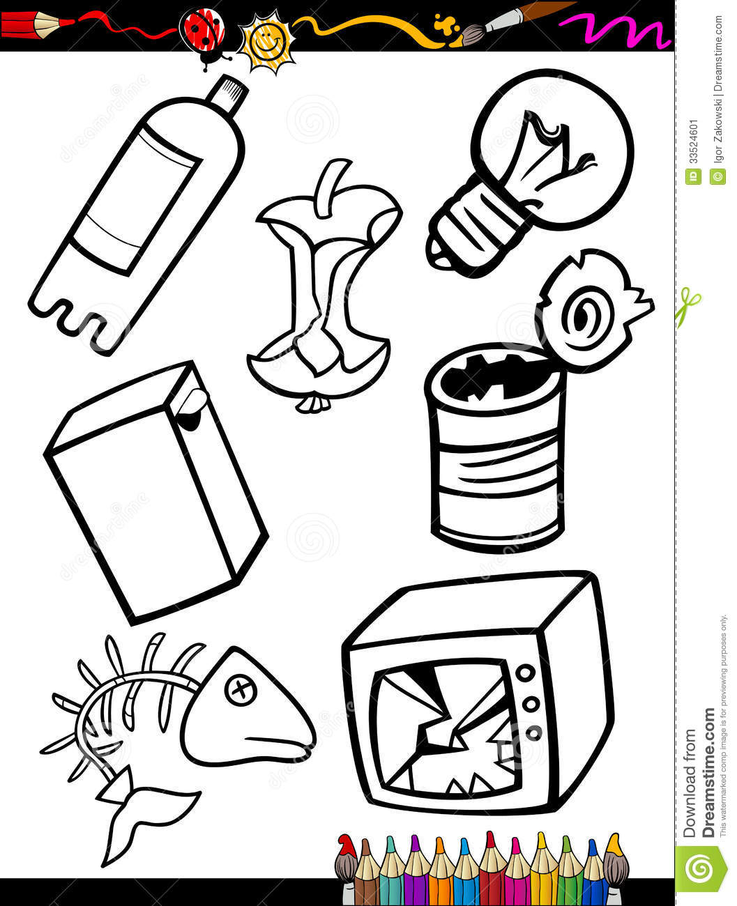 Cartoon Garbage Objects Coloring Page Stock Vector