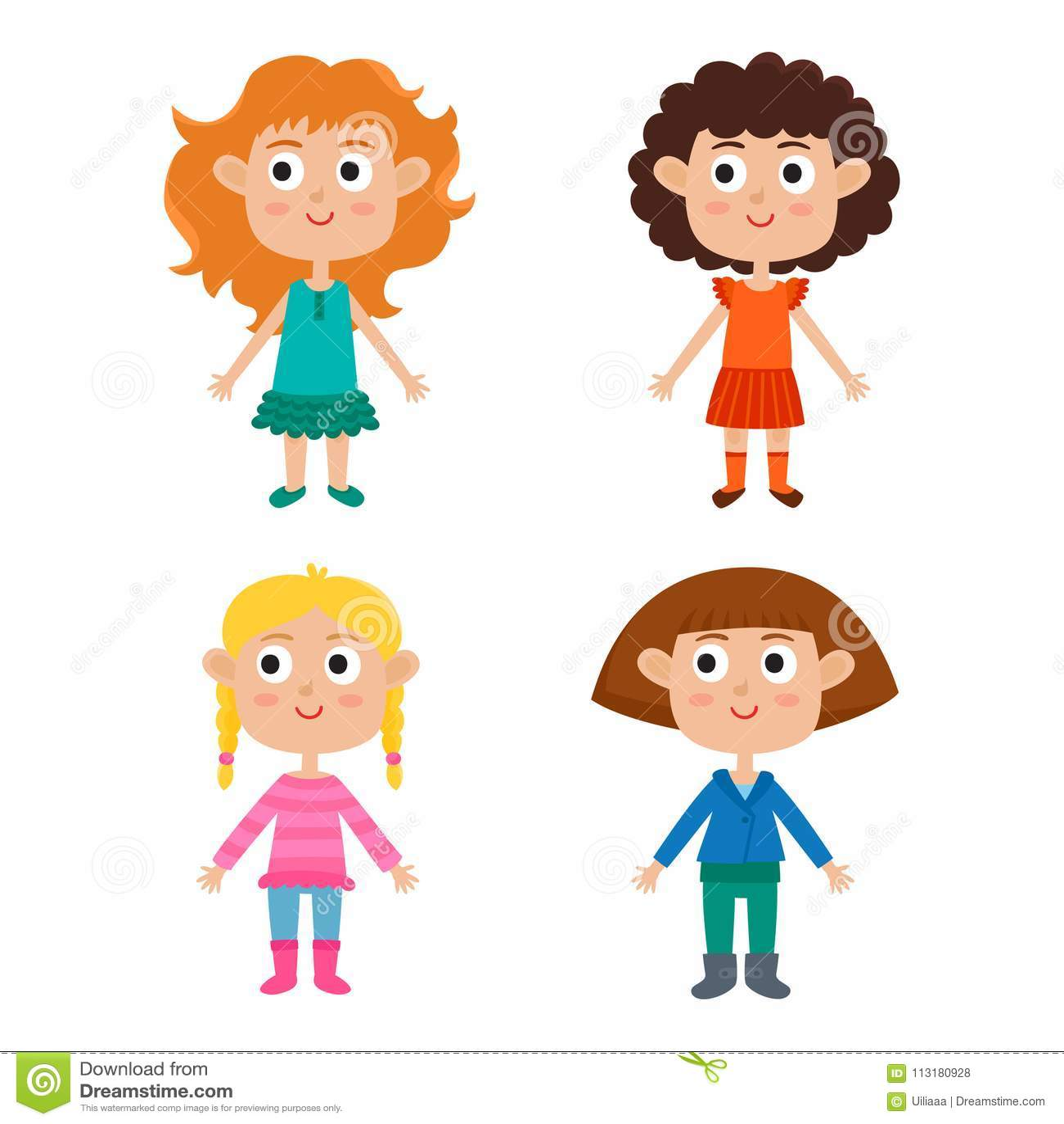 Cartoon Girls Isolated On White Characters Set Of Stylish