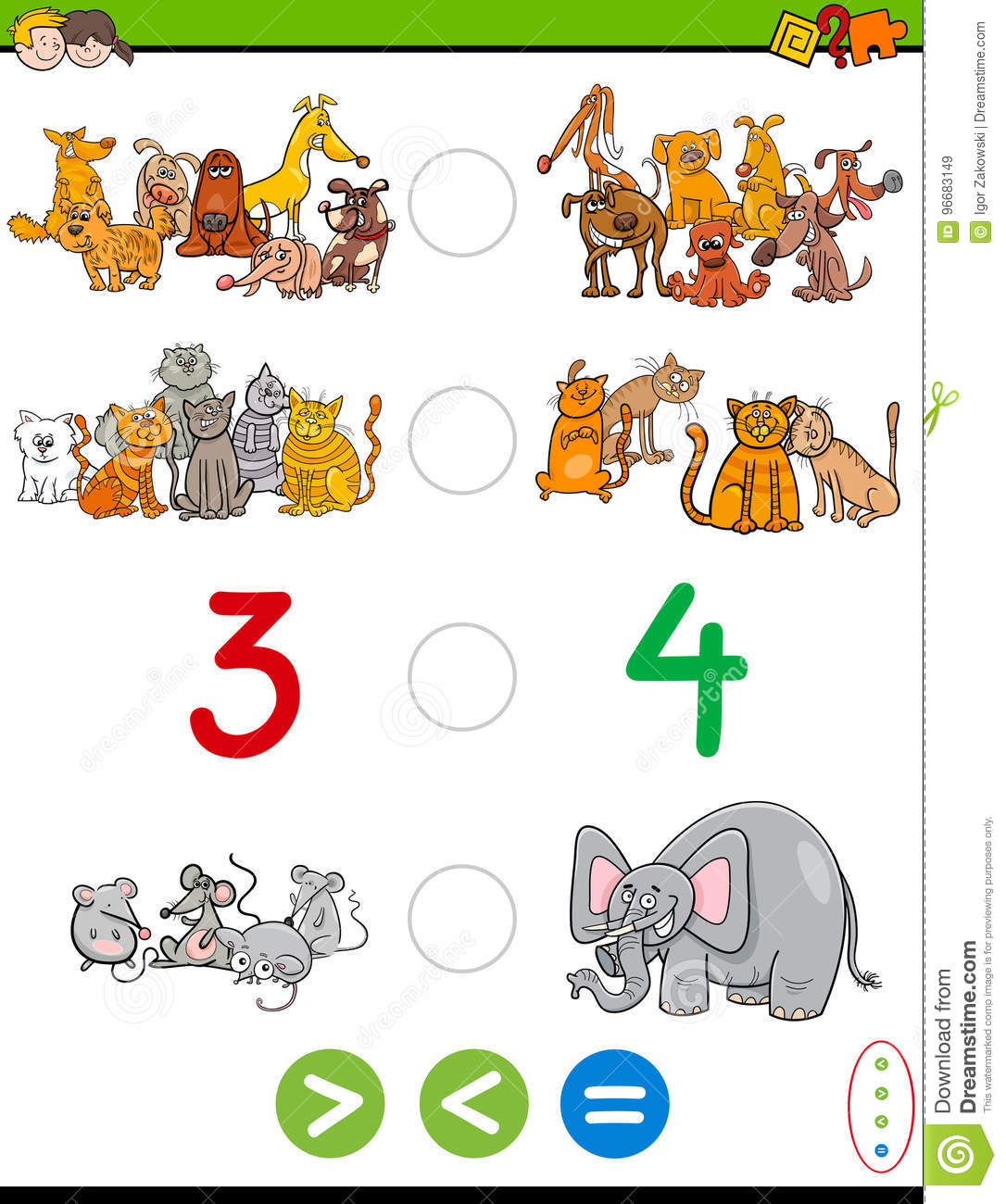 Cartoon Greater Less Or Equal Worksheet Stock Vector