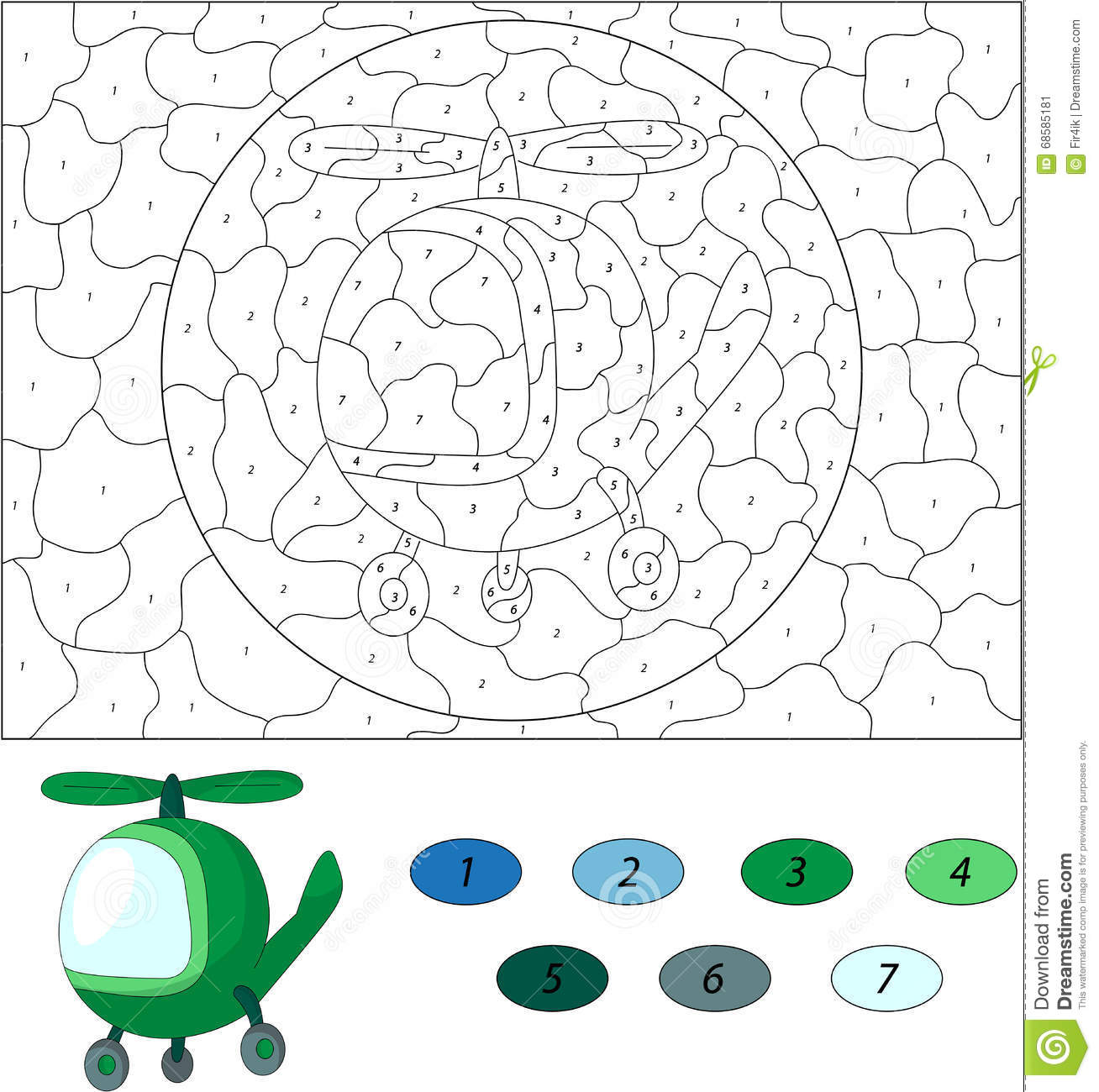 Cartoon Green Helicopter Color By Number Educational Game